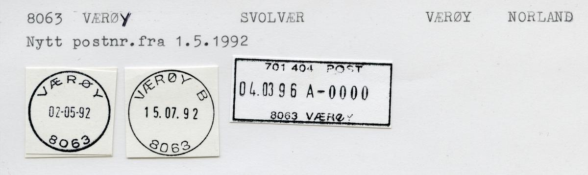 Stempelkatalog  8020 Værøy, Svolvær kommune, Nordland