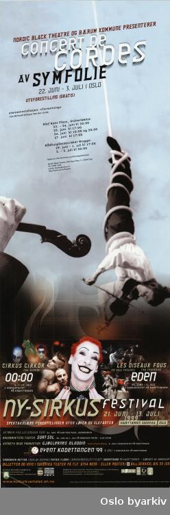 Plakat for forestillingen Symfolie Concert de Cordes på Nysirkus festival...Oslo byarkiv har ikke rettigheter til denne plakaten. Ved bruk/bestilling ta kontakt med Nordic Black Theatre (post@nordicblacktheatre.no).