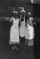 Tre tjenestefolk hos dr. Hoyer, i Langhamn Dyrøy. 1935.