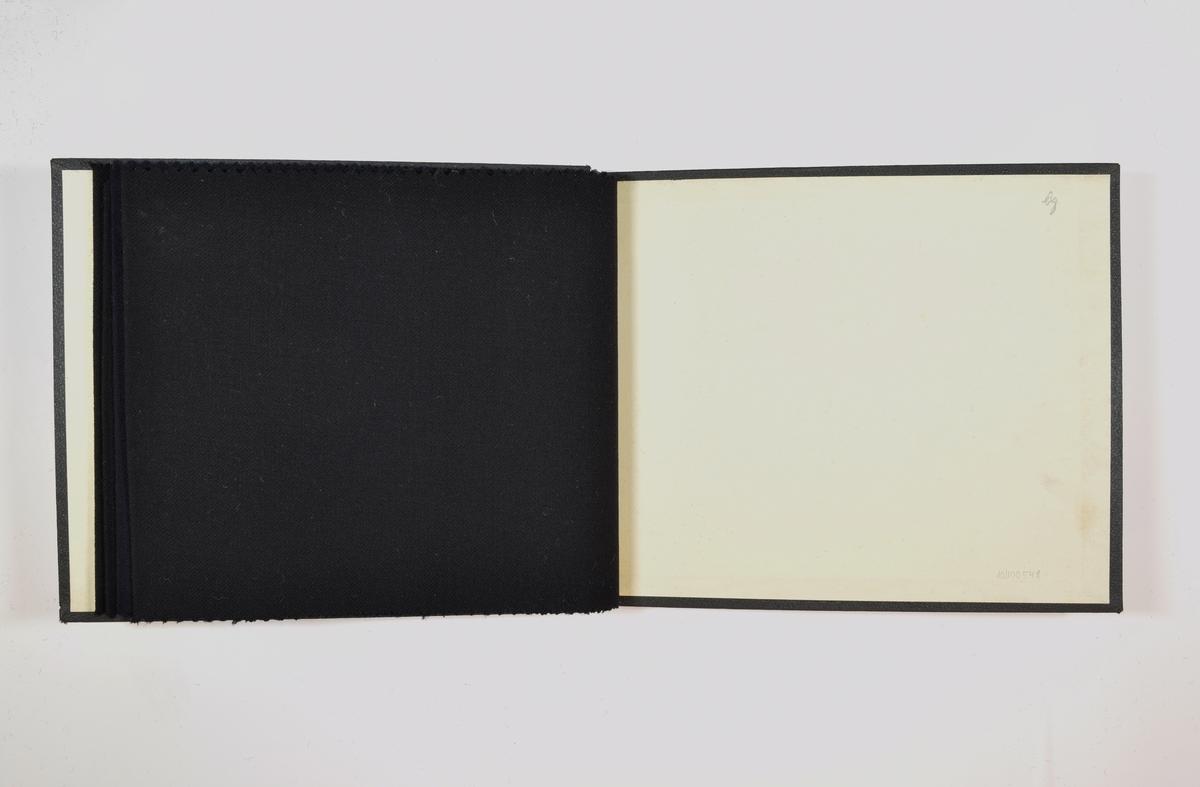 Rektangulær prøvebok med 4 stoffprøver, har trolig vært 5 stoffprøver i boken originalt. Relativt tynne ensfargede stoff. Kyperbinding/diagonalvevd. Stoffene ligger brettet dobbelt i boken slik at vranga dekkes. Stoffene er merket med en rund papirlapp, festet til stoffet med metallstifter, hvor nummer er påført for hånd.   Stoff nr.: 1212, 1212B, 4500, 4500B.
