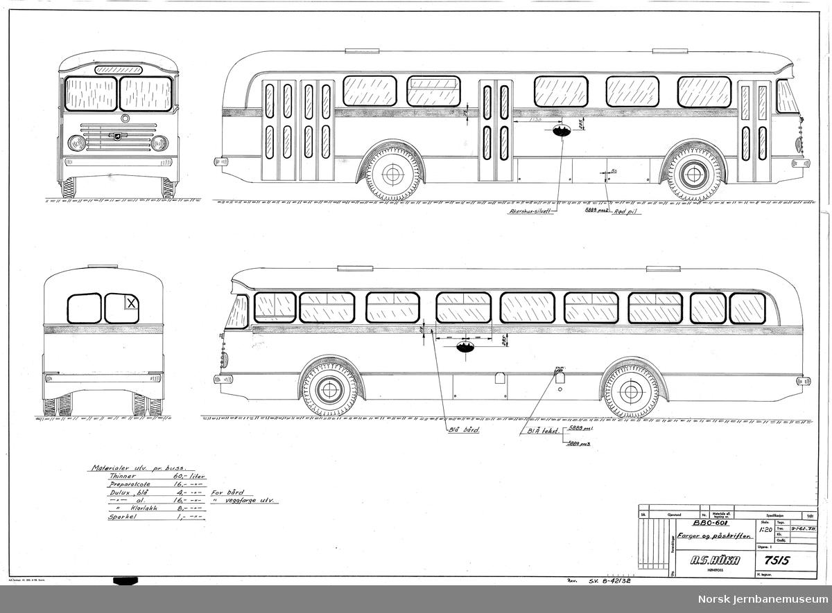 HØKA BBO-601 Buss Oslo Sporveier. Farger og påskrifter