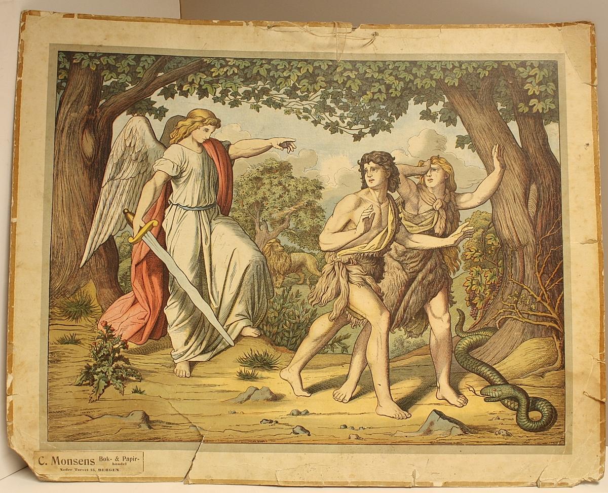 Rektangulær plakat. Viser en engel som kaster Adam og Eva ut av paradiset. Hyssing til oppheng.