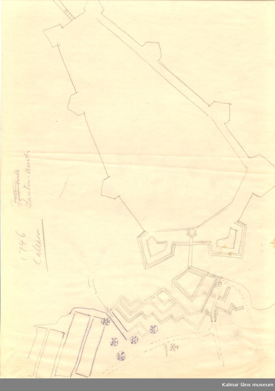 1746 Calmar Ritning över befästningsverket på Kvarnholmen.