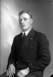 Ateljébild på en man med kavajslagsnål, slipsnål och kostym.