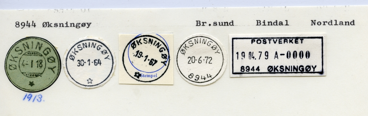 Stempelkatalog  8944 Øksningøy, Bindal kommune, Nordland