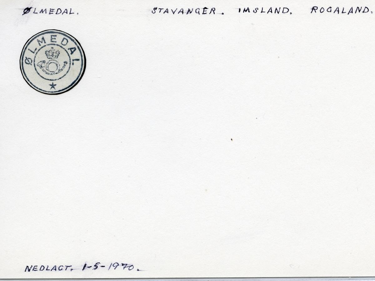 Stempelkatalog  Ølmedal, Imsland kommune, Rogaland