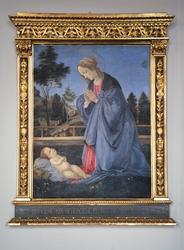 """Løten kirke, maleri av Selma Andersen. """"Marias tilbedelse av"""