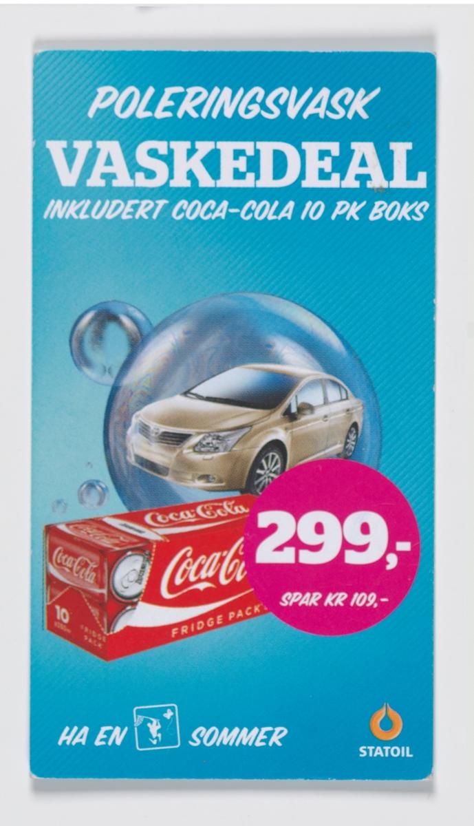 """På reklamekortet er det på den ene side en bilde av en beige bil i en boble og en pakke med colabokser. På den andre siden er det et rundt mekre med en stilisert bil og teksten """" Vask bilen i dag""""."""