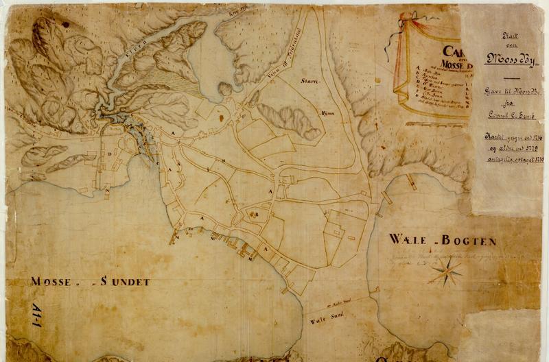 Brunt kart over Moss slik det så ut under Den store nordiske krigen.