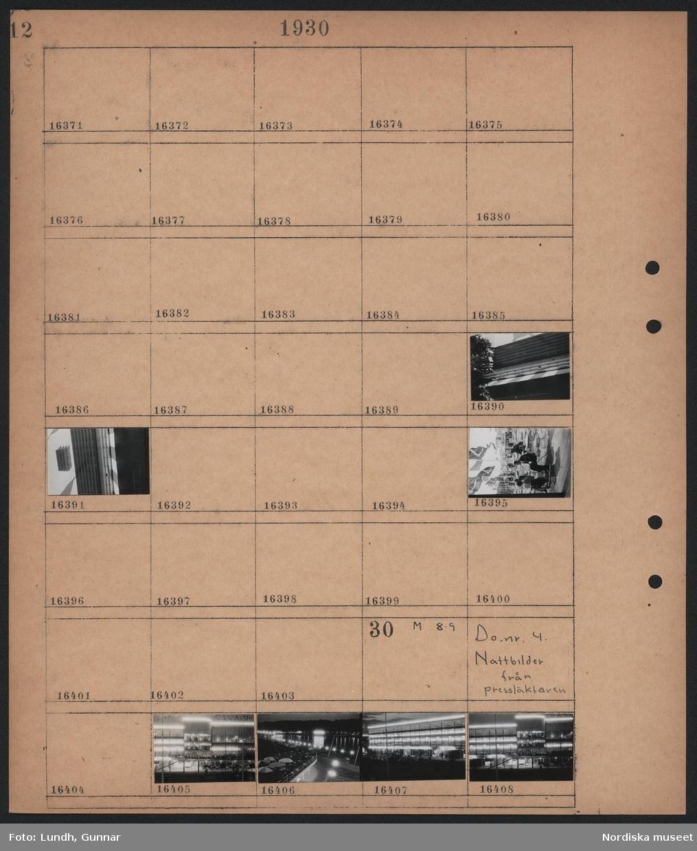 Motiv: Stockholmsutställningen 1930; Detaljer av byggnad, människor på en uteservering.  Motiv: Stockholmsutställningen 1930, Nattbilder från pressläktaren; Nattbild av byggnad på utställningen, nattbild med vy över utställningen.