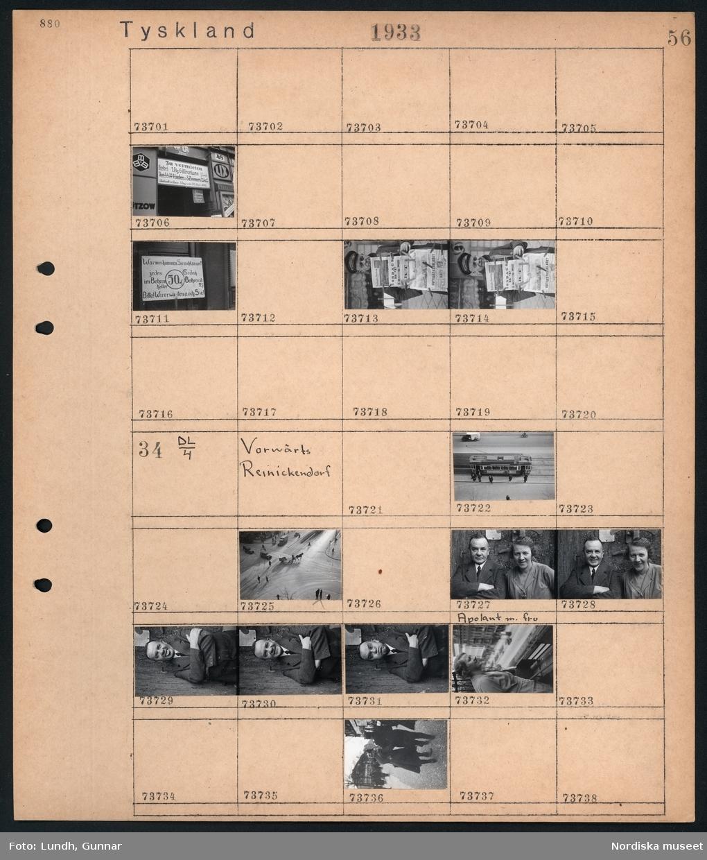 """Motiv: Tyskland, Berlin bl. a. Friedrichstrasse; Detalj av fasad med skylt """"Zu vermieten ..."""", skylt """"Warum kommen Sie nicht zu uns? ...."""", en man säljer tidningar.  Motiv: Tyskland, Vorwärts, Reinickendorf; Gatuvy med människor vid en spårvagn, gatuvy med fotgängare - bilar och en hästdragen vagn, porträtt av en man (""""Apolant"""") med fru. Gatuvy med fotgängare."""