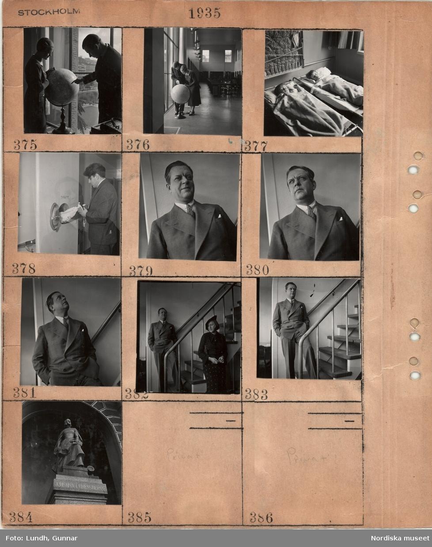 """Motiv: Stockholm, ung man och kvinna som tittar på en jordglob i en undervisningslokal, två mindre barn ligger i enkla sängar i en sovsal, porträtt av en man troligen arkitekt Sven Markelius som lägger tvätt i ett nedkast märkt """"Tvätt"""" troligen i Kollektivhuset på John Ericssonsgatan 6 på Kungsholmen, , kvinna och en man troligen arkitekt Sven Markelius står vid en trappa inomhus, staty av Kristina Gyllenstierna."""