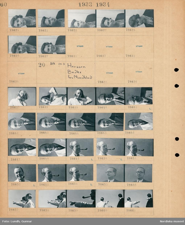 Motiv: Fru Signe Wessmann med maka, Fru Wästberg; Porträtt av en kvinna.  Motiv: Hersson, Bedke, fru Nordblad; Porträtt av en kvinna, porträtt av en man, porträtt av en man med pipa, porträtt av två män som pekar med handen.