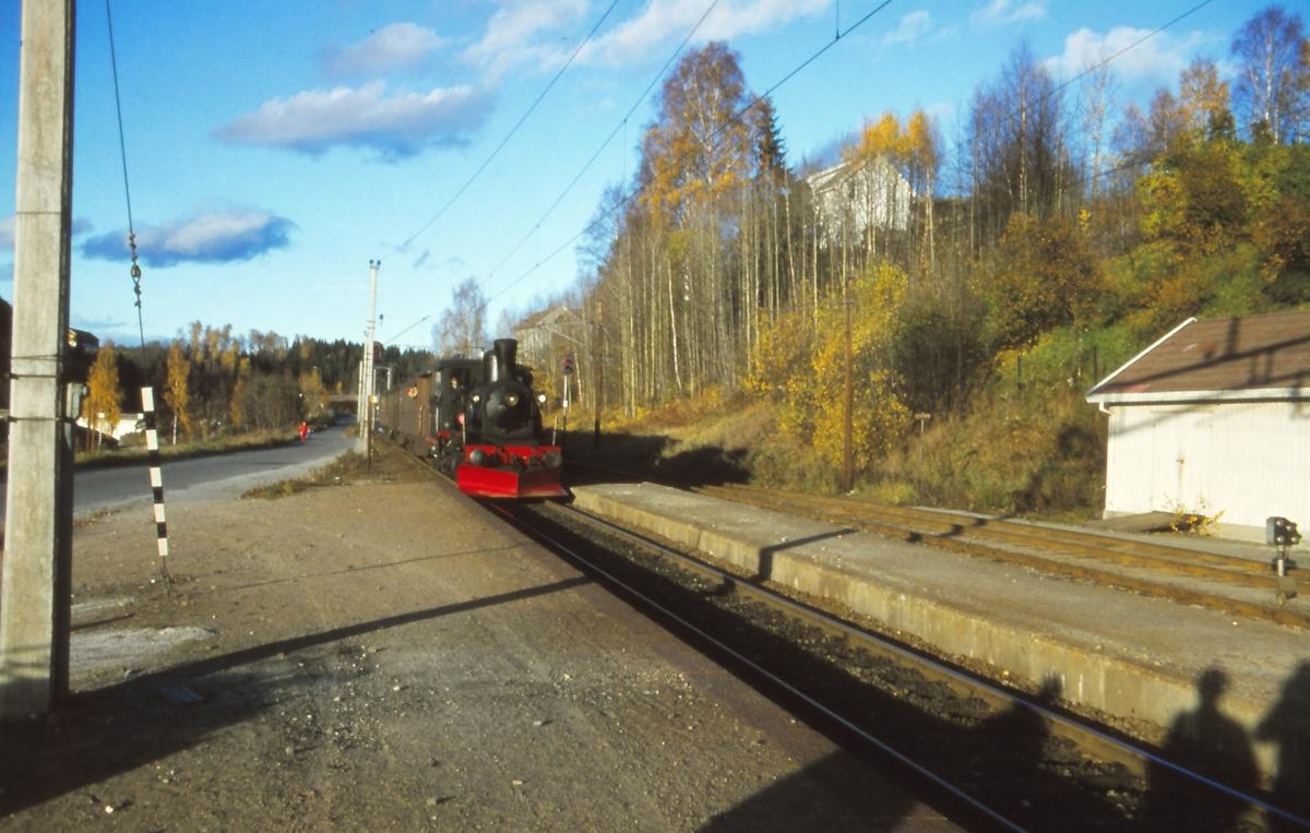 Veterantog trukket av damplok 21b nr. 252 på Åmot stasjon .