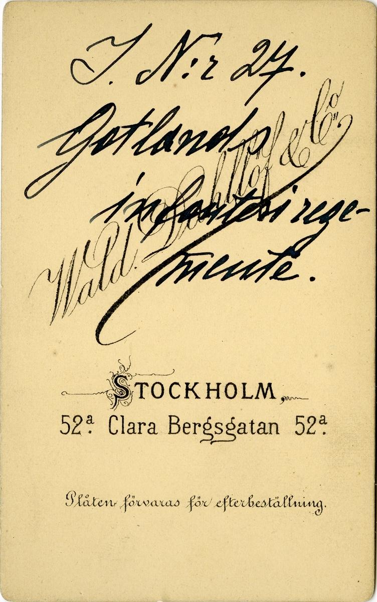 Porträtt av Bror Ture Gereon Viktor Hjalmar Oktavius Mellerborg, löjtnant vid Gotlands infanteriregemente I 27. Se även AMA.0008034.