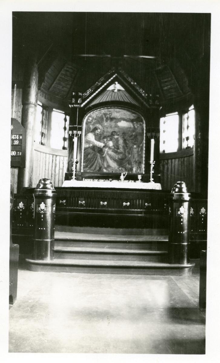 Altertavle og alterrring, Skute kirke, Søndre Land.