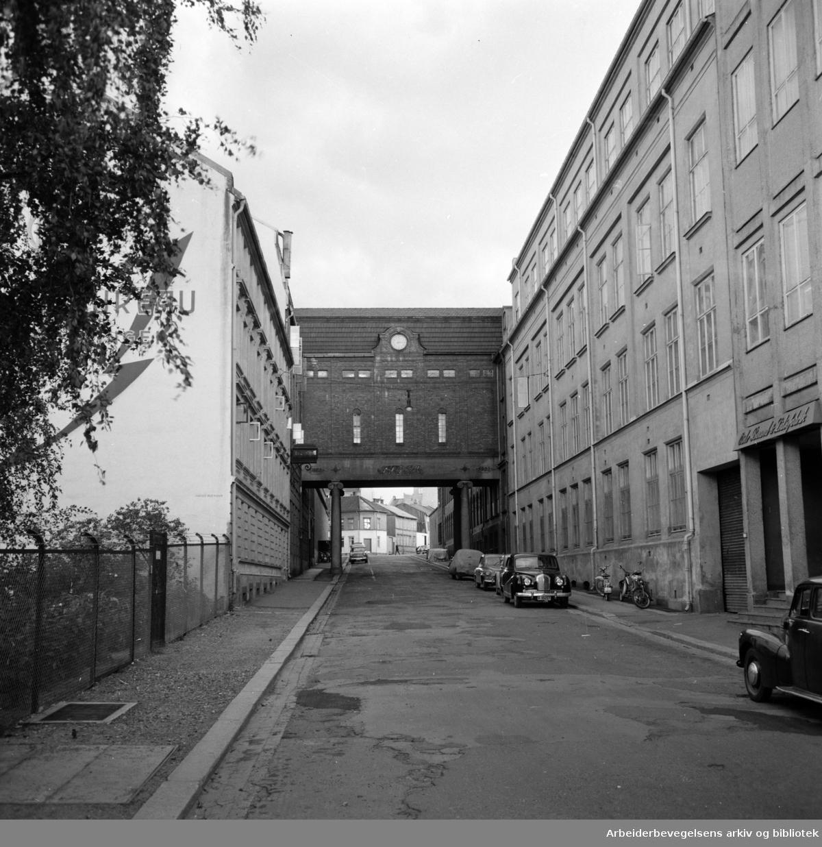 Freia a.s. skal kjøpe to gater, Verksgata og Teglverksgaten. Juni 1960