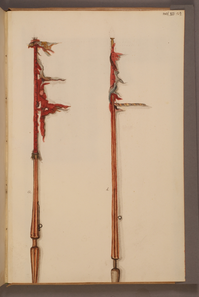 Avbildning i gouache föreställande fälttecken tagna som troféer av svenska armén. De avbildade standaren finns inte bevarade i Armémuseums samling.