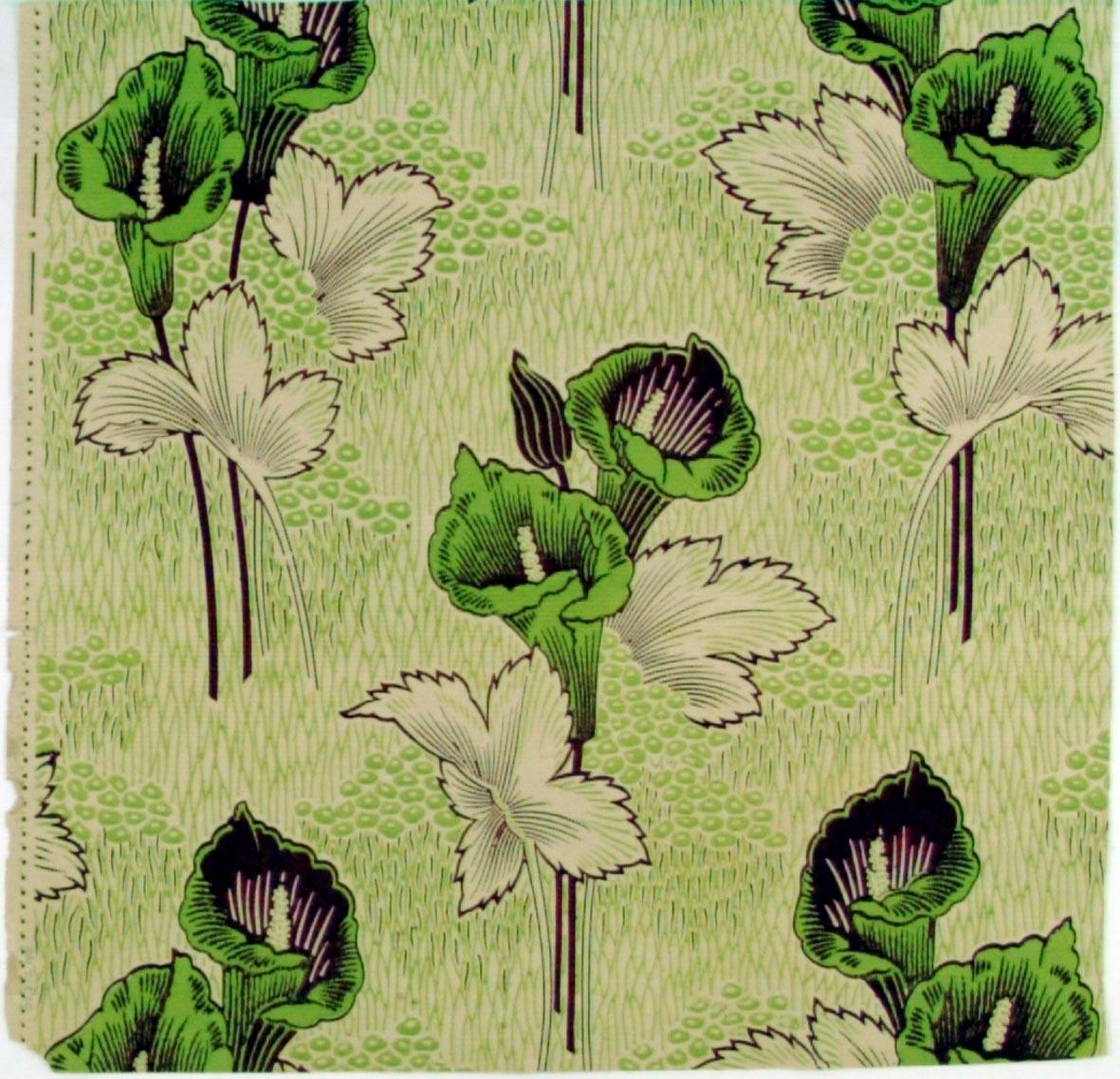 Liljor i diagonalupprepning. Tryck i vinrött och gulgrönt på ofärgat papper.