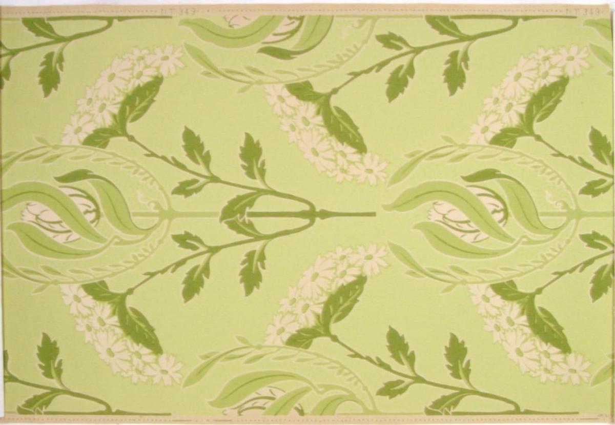Fritt växande jugendmönster i två gulgröna nyanser på ofärgat papper.