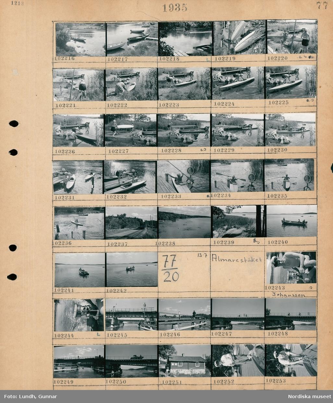 Motiv: Solviksbadet -214, Almarestäket; Landksapsvy med vatten och människor i båtar, landskapsvy med byggor och båtar, två kvinnor med en kanot vid en brygga, ett ånglok, landskapsvy med vatten och kanoter, människor i en roddbåt med utombordare.  Motiv: Almarestäket; Porträtt av en man Johansson som kör en utombordare, en bro, exteriör av ett hus, en man håller i en förtöjd båt.