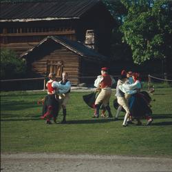 Ett folkdanslag dansar på Orsakullens gräsplan.