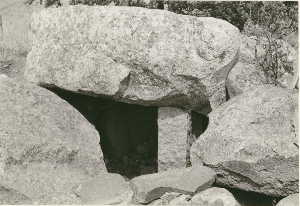 Mysinge gånggrift från yngre stenåldern. Oservera grindstolpen som håller upp takblocket.