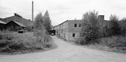 Vy med glasbruket i Boda. Foto: den 28/9 1989