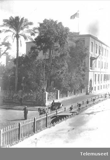 Bygning, park, telefonsentral, Cairo. Elektrisk Bureau.