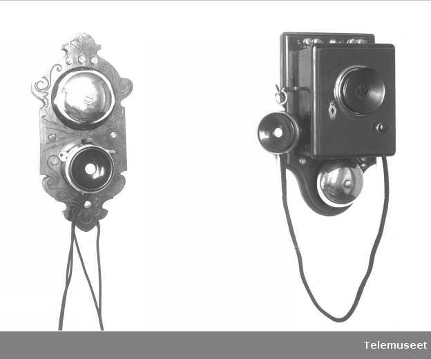 Telefonapparat, lokal veggtelefon i tre, med fast mikrofon, klokke likestrøm, fabr. Mix & Genest. Elektrisk Bureau.