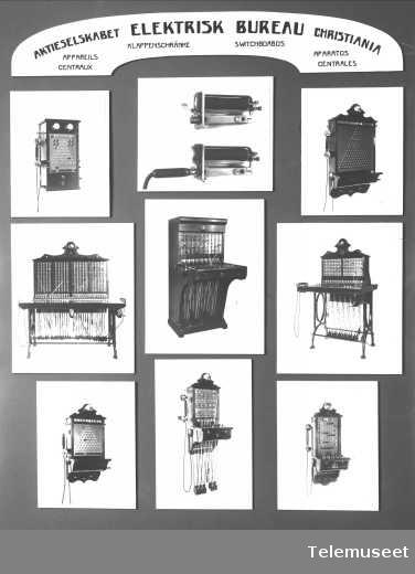 Telefonsentraler, fotomontasje av mindre vekseltyper. Elektrisk Bureau.