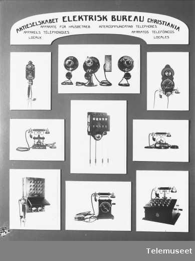 Telefonapparater, fotomontasje av lokaltelefonapparater. Elektrisk Bureau.