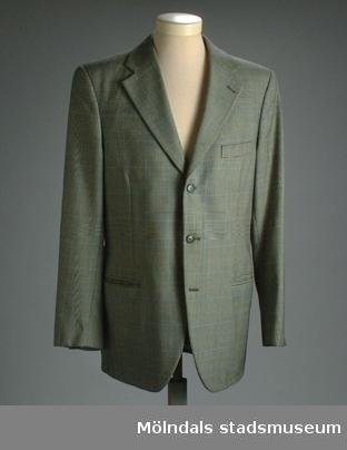 Smårutig grå kavaj, tillhörande kostym 03362.