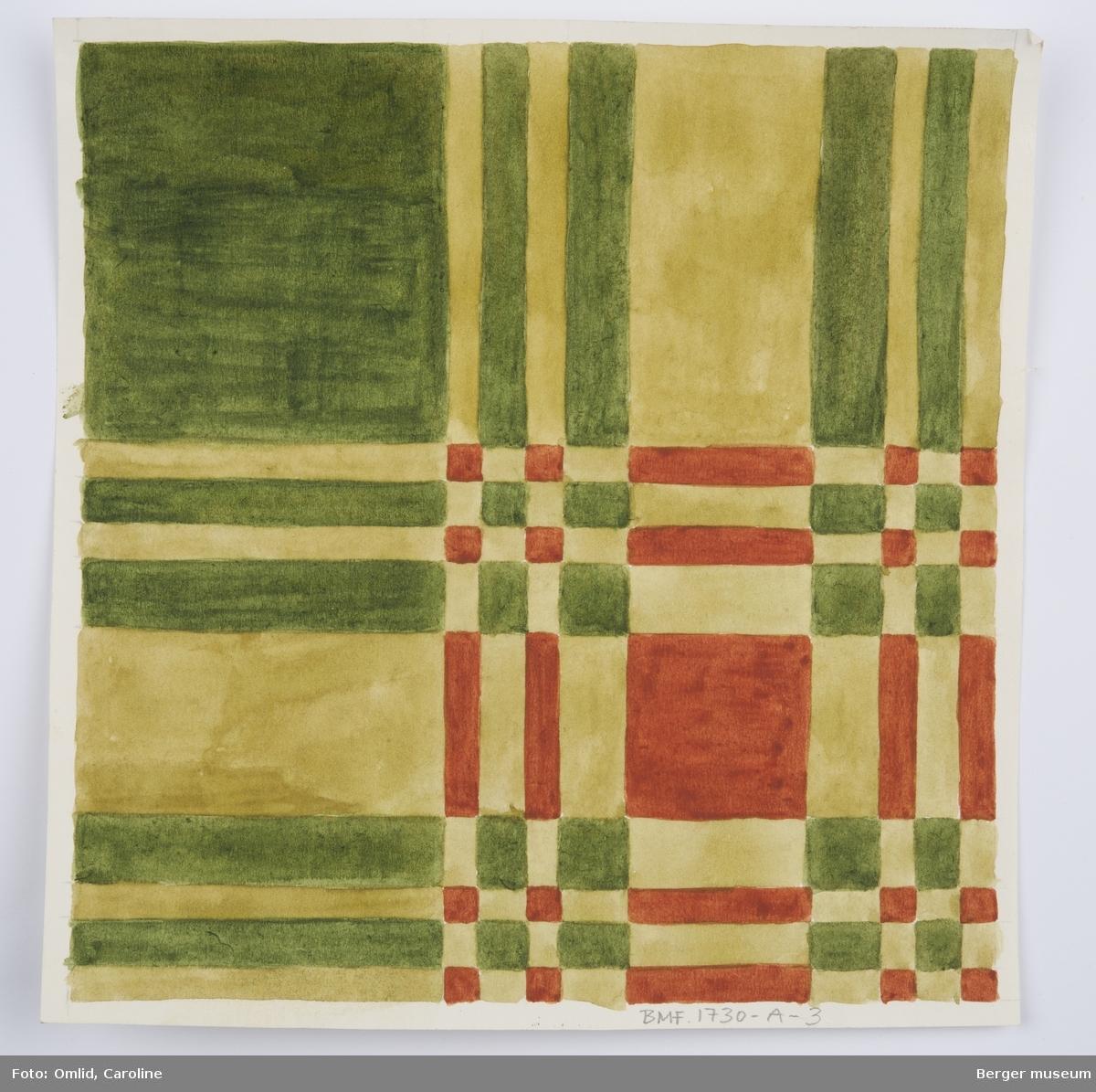 Rutemønster inspirert av skotskrutete kiltmønster, der innslag og renningsfarger krysser hverandre.