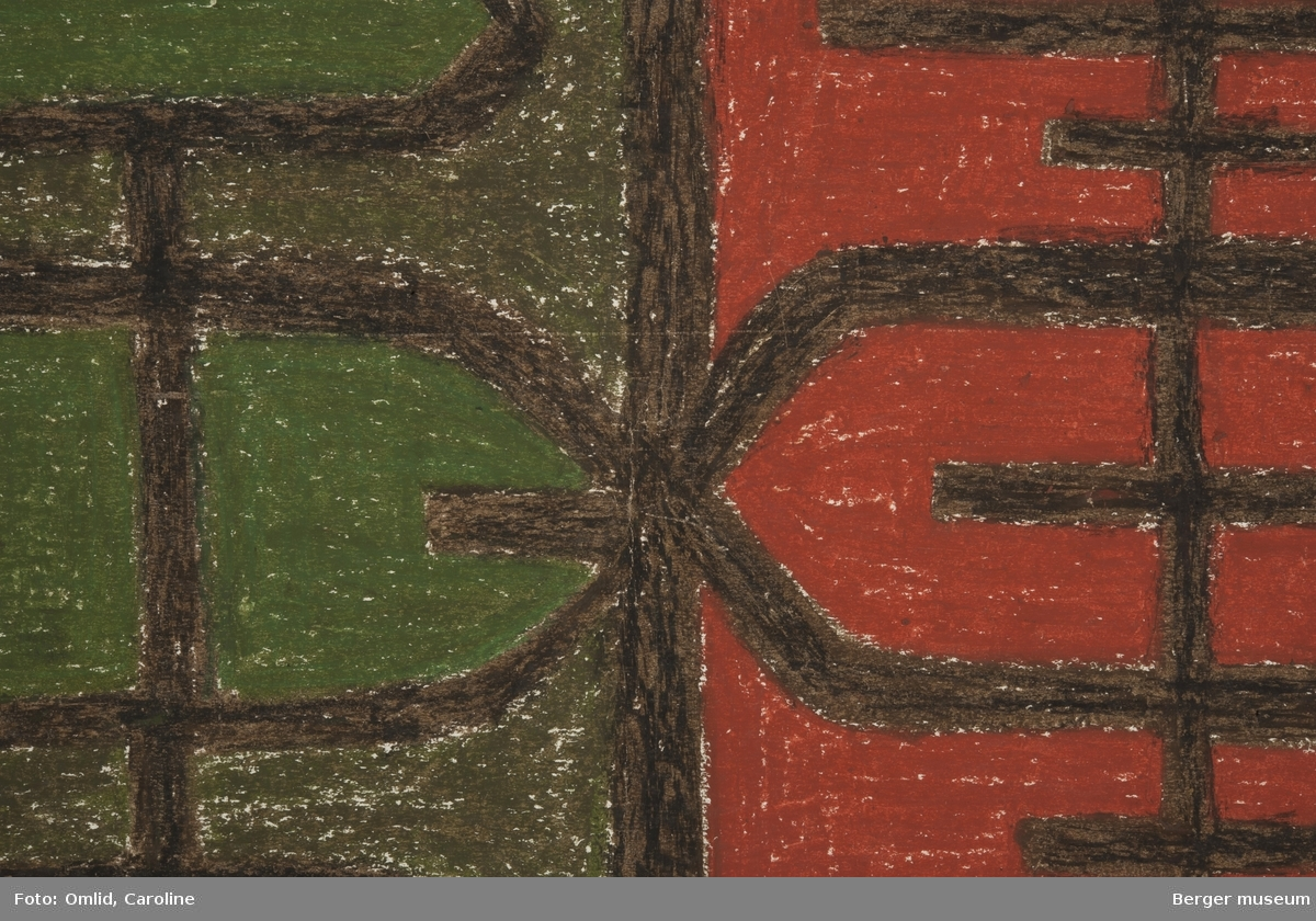Mønsteret er inndelt som langsgående grønne og terrakottarød striper dekorert med geometriske mønstre i brunt.