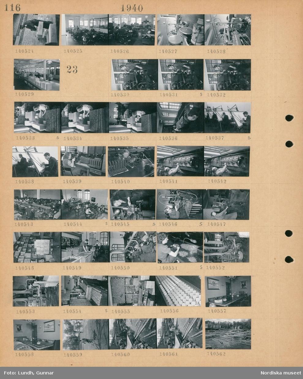 """Motiv: (ingen anteckning) Troligen Åtvidaberg;  En man staplar kartonger med text """"Åtvidaberg"""", män och kvinnor vid maskiner.  Motiv: (ingen anteckning) Troligen Åtvidaberg; En man vid en maskin, kvinnor packar produkter i lådor, ett ritkontor, en kvinna vid en maskin, tillverkning av skrivmaskiner, interiör av ett sammanträdesrum, gatuvy med fotgängare och cyklister, en lastbil lastad med timmer, en damm fylld med timmerstockar."""