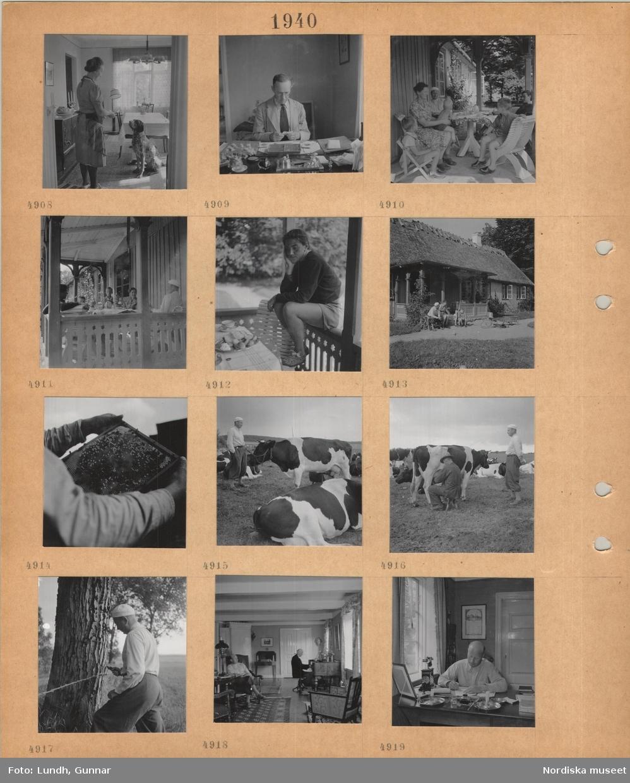 Motiv: Kvinna med förkläde står i ett matrum med sittande jakthund, man sitter vid skrivbord och räknar pengar, kvinna, man och flera barn sitter vid dukat kaffebord på en veranda, ung kvinna sitter på verandaräcke, man, kvinna och två små pojkar sitter framför hus med halmtak, en person håller i en ram med bikaka, man vid mjölkkor i hage, en annan man sitter och mjölkar, justering av taggtråd, två män i ett vardagsrum, den ene spelar på ett instrument, man sitter och arbetar vid ett skrivbord, telefon, flugfångare i fönstret.