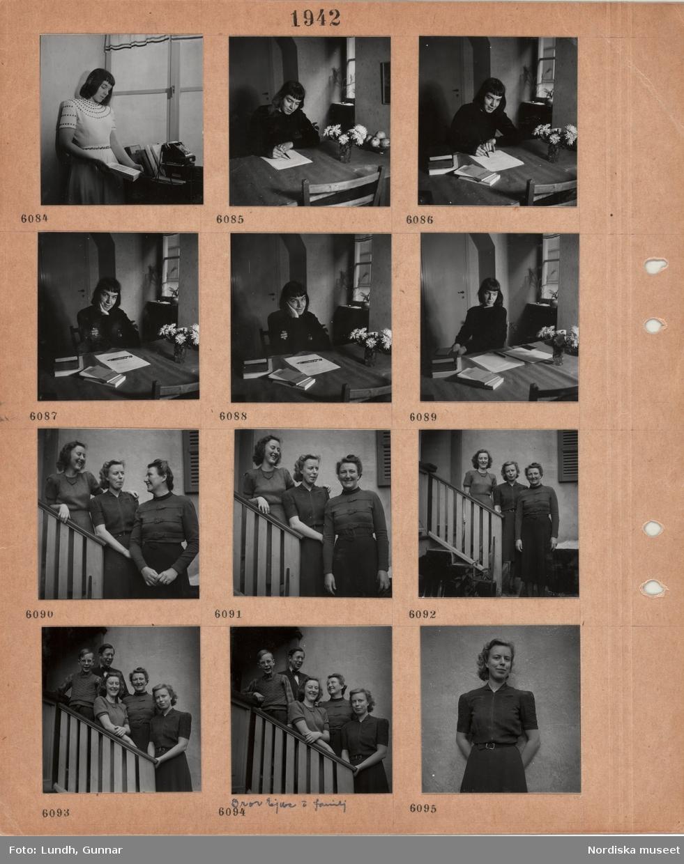 Motiv: En kvinna står vid ett fönster, håller i en bok, telefon, sitter vid ett bord och skriver, tre kvinnor står på en yttertrappa, man, Bror Ejve och familj, pojke och tre kvinnor på en yttertrappa, porträttbild av ung kvinna.