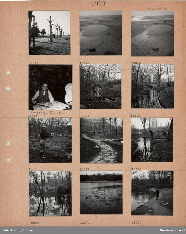 Motiv: Malmö, nyplanterade och beskurna alléträd vid en väg, två promenerande med hund, långgrund sandstrand med vattenpölar, en man, Lengertz, Lund, sitter vid ett bord med dagstidningar, sax och limburk(?), skulptur av manshuvud står bredvid, en man rensar ett litet vattendrag i en park, en man beskär ett träd, stenlagd gångstig i park, två män rensar ett vattendrag, damm med änder, kvinna går på en gångväg längs en damm.