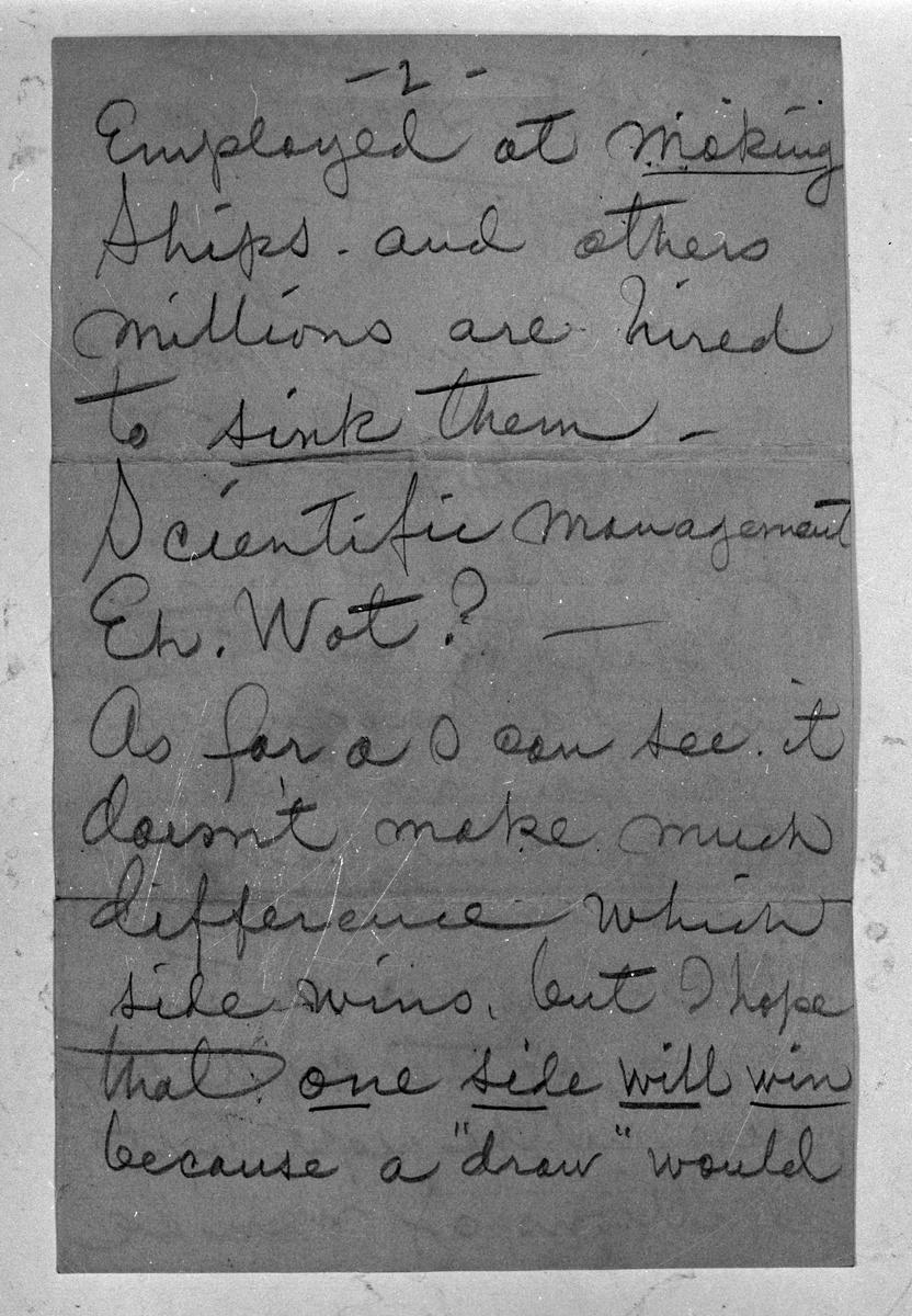 Reprofoton av brev som Joe Hill (Joel Hägglund) skrivit. Originalbreven är deponerade i Länsmuseet Gävleborgs arkiv.