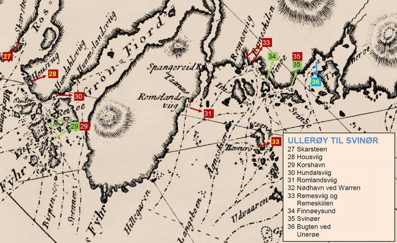 Utsnitt fra Paul Løwenørns sjøkart nr. 5 over den norske kyst fra ca. 1800, hvor man kan se havnen Svinør avmerket (nr. 35), samt de viktigste seilingsrutene i området. (Foto/Photo)