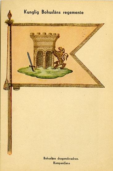 """Enligt Bengt Lundins noteringar: """"Kungliga Bohusläns regemente. Bohusläns dragonskvadron. Kompanifana""""."""