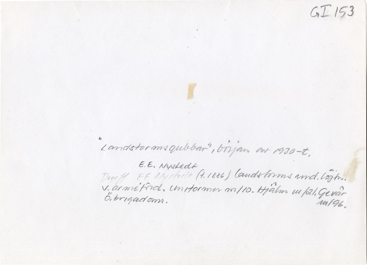 Grupporträtt av landstormsmän i början av 1930-talet.