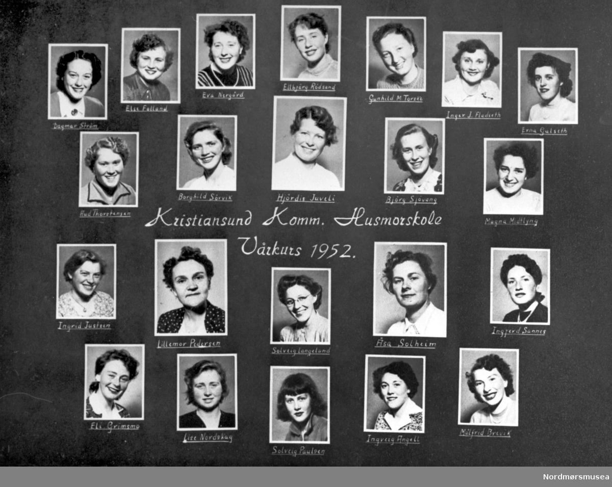 Collage av elever ved Kristiansund kommunes husmorskoles vårkurs i 1952. Fra Nordmøre museum sin fotosamling, Williamsarkivet.