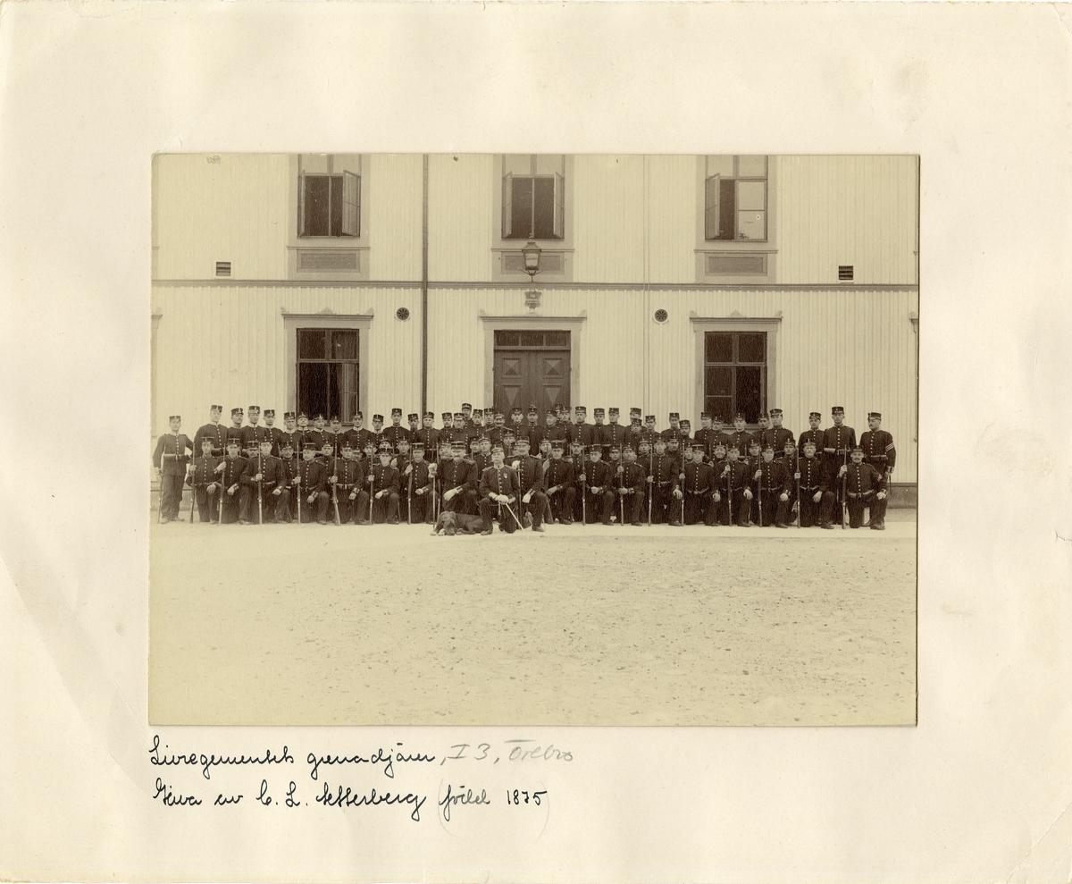 Grupporträtt av soldater och officerare vid Livregementets grenadjärer I 3.