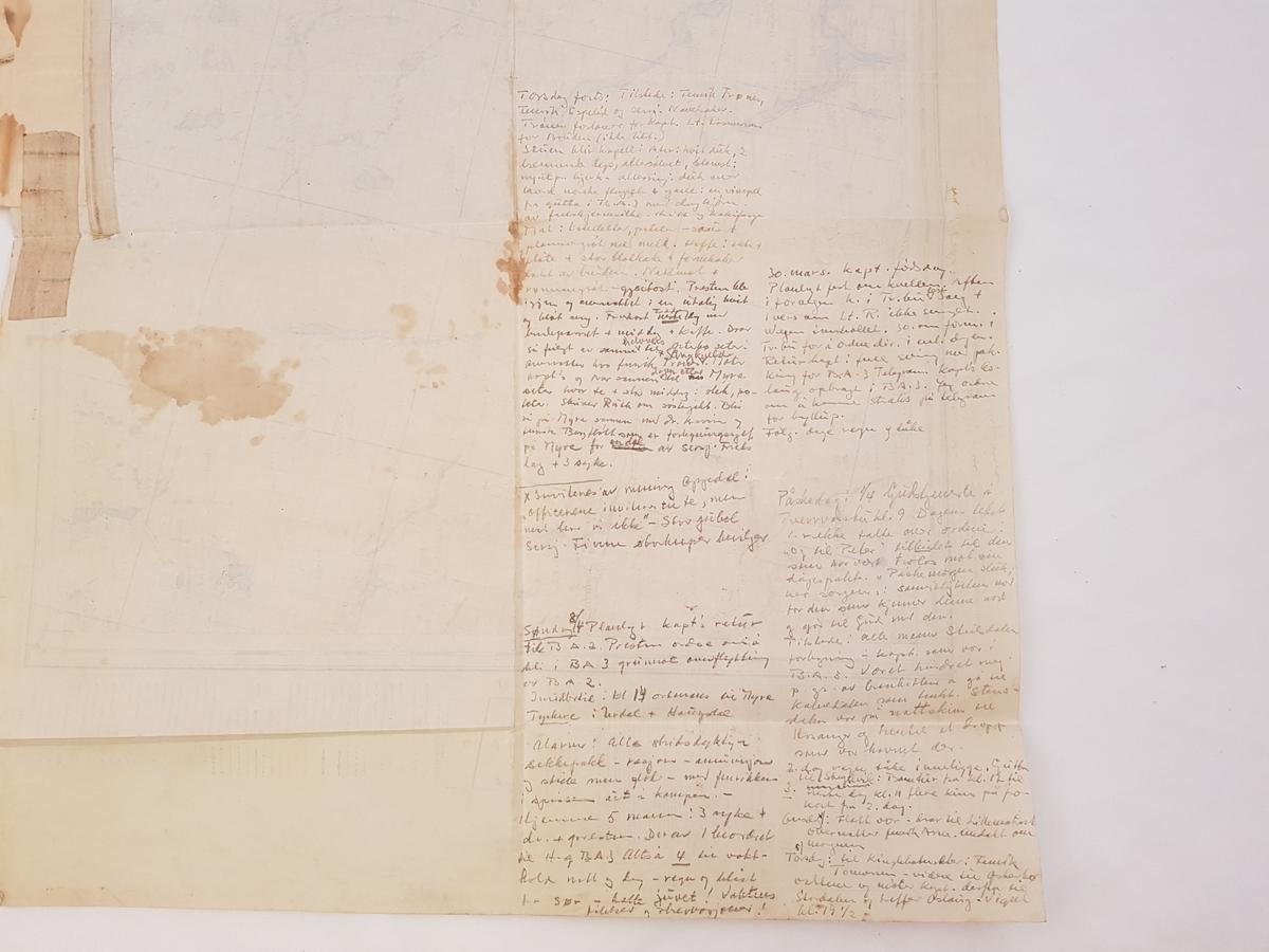 Kart over Bjørn Wests aktivitetsområde. Det er tegnet inn kartdetaljer utover det originale kartets område.  På kartets bakside er det skrevet inn dagboknotater (30.3.1945-8.4.1945).