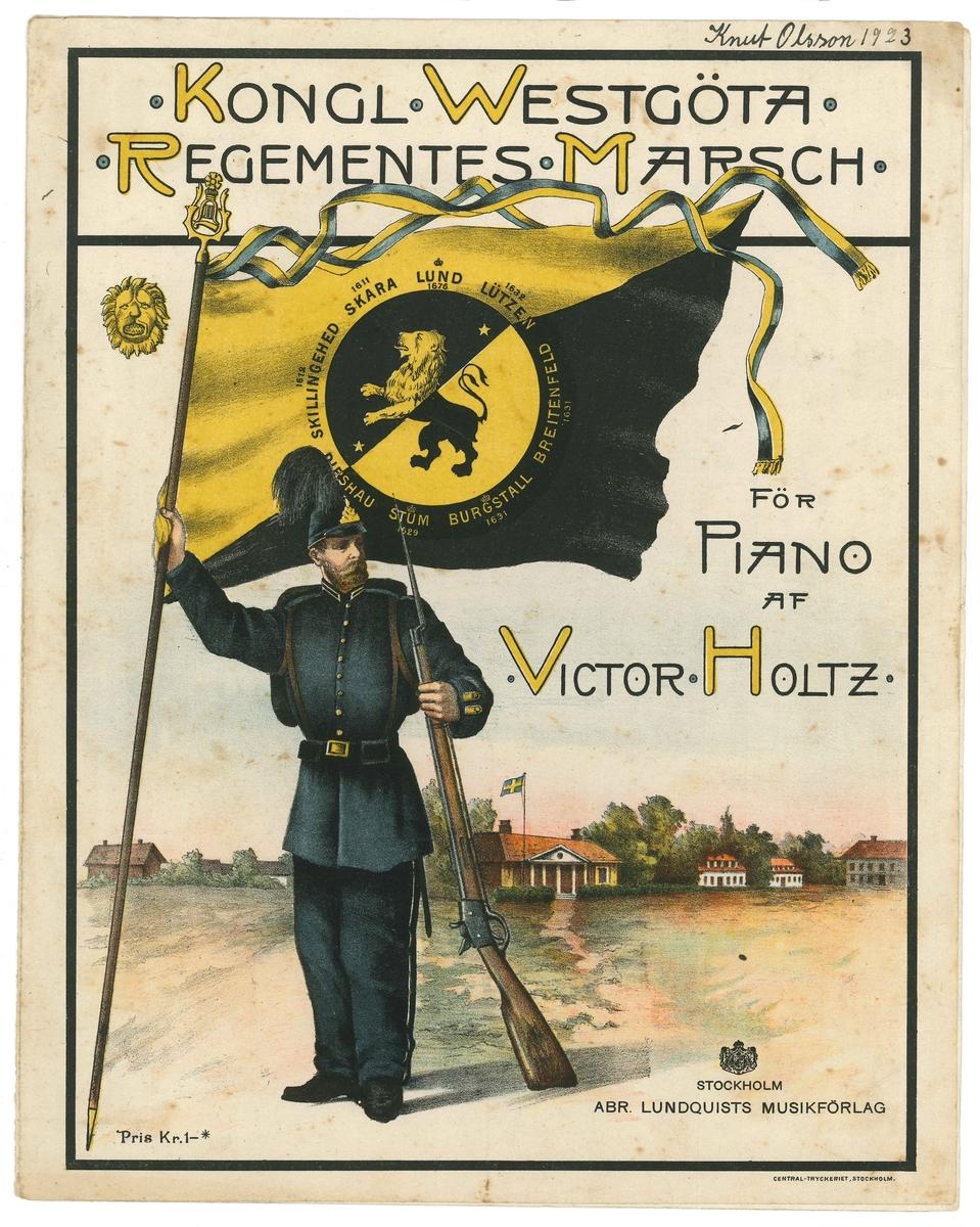 """Nothäfte om 6 sidor. Framsidan är illustrerad med en soldat som står med en fana i svart och gult o högra handen och ett gevär i den vänstra. Fanan på standarpinnen är fladdrar utspänt i vinden och över flaggan fladdrar två band i gult och blått. Standarpinnen kröns med Oscar II initialer.   Titeln på stycket står som titel """"Kongl. Westgöta Regementets March""""  och till höger om soldaten står """"För Piano af Victor Holtz"""""""