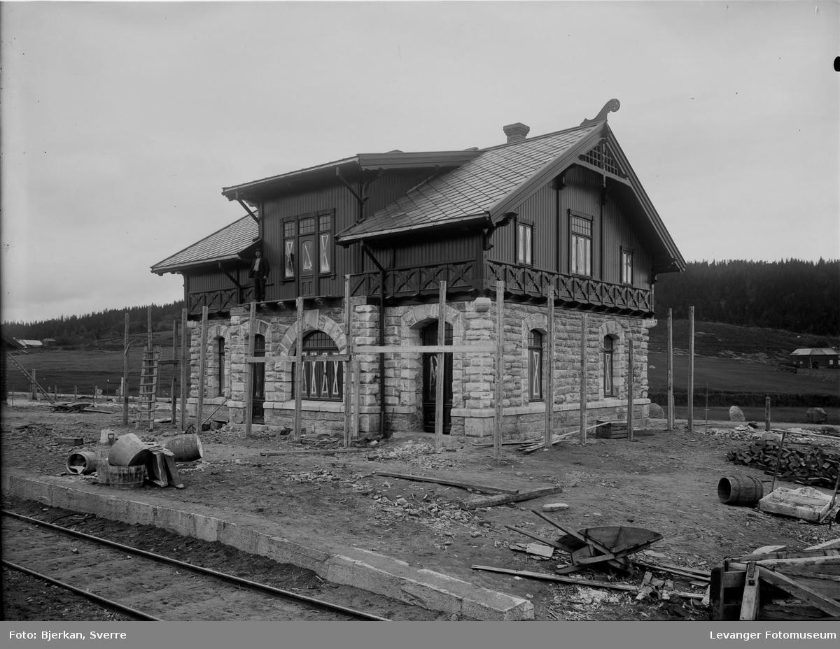 Fra byggingen av Skogn jernbanestasjon.