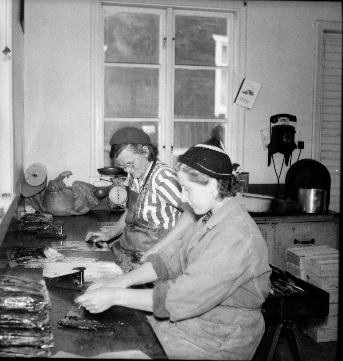 Två kvinnor arbetar med fiskrensning.