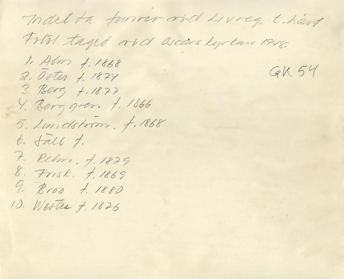Indelta furirer vid Livregementet till häst utanför Oscars kyrkan i Stockholm 1948. För namn, se bild nr. 2.
